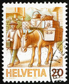 Postage stamp Switzerland 1987 Mule Post, Mail Handling — Stock Photo