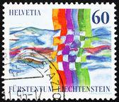 Selo 1995 liechtenstein liechtenstein - suíça rel — Foto Stock