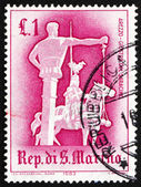 Postage stamp San Marino 1963 Jousting with Saracen, Arezzo — Stock Photo