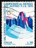 Poštovní známka itálie 1970 sassolungo a sella, skupina, dolomitové al — Stock fotografie