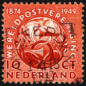 Postage stamp Netherlands 1949 Post Horns Entwined — Stock Photo