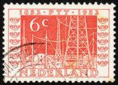 Poštovní známka Nizozemsko 1952 vysílače — Stock fotografie