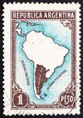почтовая марка аргентина 1936 карта южной америки — Стоковое фото