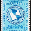 Stock Photo: Postage stamp Venezuel1956 Book and Map of Americas
