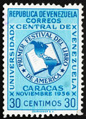Postage stamp Venezuela 1956 Book and Map of the Americas — Stock Photo
