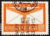 Poštovní známka argentina 1942 letadlo a dopis — Stock fotografie