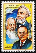 Postage stamp Cuba 1981 Jules Verne, Konstantin E. Tsiolkovski a — Stock Photo