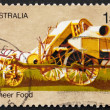 Postage stamp Australia 1972 Combine Harvester, Pioneer Life — Stock Photo