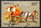 Transport de timbre-poste australie 1972 entraîneur, vie de pionnier — Photo