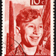 Postage stamp Netherlands 1951 Boy, Chimneys and Steelwork — Stock Photo