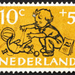 Postage stamp Netherlands 1952 Boy, Chimneys and Steelwork — Foto de stock #12230572
