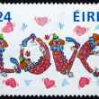 Postage stamp Ireland 1988 Love, Clowns and Hearts, Valentine — Stock Photo