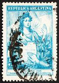 Liberté d'argentine 1946 timbre-poste et serment présidentiel — Photo