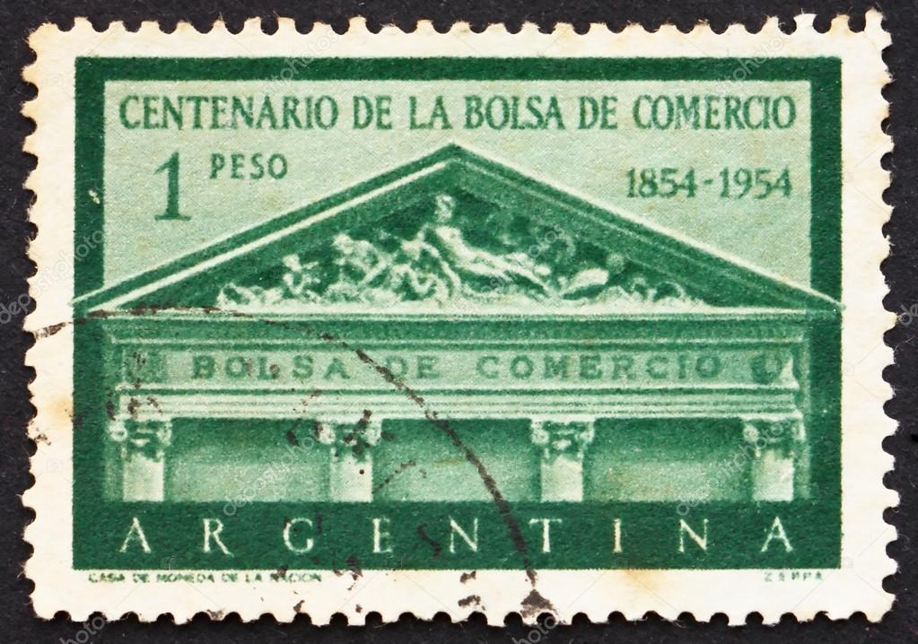 ARGENTINA - CIRCA 1954: a stamp printed in the Argentina shows Pediment, Buenos Aires Stock Exchange, Centenary of the Establishment of the Stock Exchange, circa 195 — Stock Photo #12261689