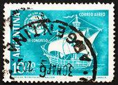 Postage stamp Argentina 1960 Caravel and Emblem — Stock Photo