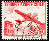 Postage stamp Chile 1956 Control Tower and Plane — Stock Photo