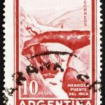 Постер, плакат: Postage stamp Argentina 1960 Inca Bridge Mendoza