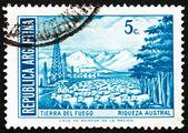 Estampilla argentina 1971 fueguino, argentina — Foto de Stock