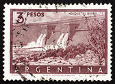 Frimärke argentina 1956 nihuil dam, mendoza — Stockfoto