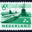 Postage stamp Netherlands 1962 Polder with Canals and Windmills — Stock Photo #12387849