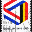 Stockfoto: Postage stamp Netherlands 1969 Mobius Strip in Benelux Colors