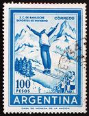 Postage stamp Argentina 1961 Ski Jumper — Stock Photo