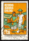 Briefmarke 1968 chile farm paar — Stockfoto