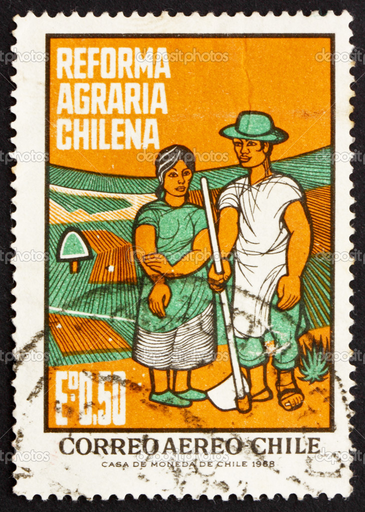 CHILE - CIRCA 1968: a stamp printed in the Chile shows Farm Couple, Agrarian Reforms, circa 1968 — Stock Photo #12473409