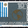 Postage stamp Uruguay 1967 Flag of Uruguay and Map of the Americ - Stock Photo