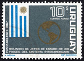 Postage stamp Uruguay 1967 Flag of Uruguay and Map of the Americ — Stock Photo