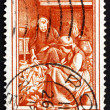 Postage stamp Italy 1950 Husking Corn, Friuli-Venezia Giulia - Stock Photo