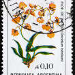 Postage stamp Argentina 1983 Orchid, Oncidium Bifolium - Stock Photo
