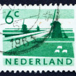 Postage stamp Netherlands 1962 Polder with Canals and Windmills — Stock Photo #12701257