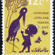 Stock Photo: Postage stamp Netherlands 1963 Storky, Storky, Billy Spoon, Nurs
