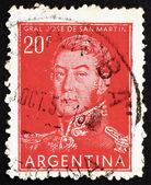 Selo postal argentina 1954 jose de san martin, geral — Foto Stock