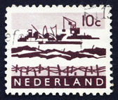 Postage stamp Netherlands 1963 Dredging in Delta — Stock Photo