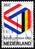 Postage stamp Netherlands 1969 Mobius Strip in Benelux Colors — Stock Photo