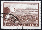 Selo postal argentina 1958 ganaderia de fazenda, gado — Foto Stock