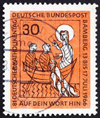 Postage stamp Germany 1966 The Miraculous Draught — Stock Photo