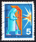 Postage stamp Germany 1970 Welder, Industrial Protection — Stock Photo