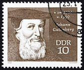 Postage stamp GDR 1970 Johann Gutenberg, Printer — Stock Photo