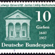 图库照片: Postage stamp Germany 1957 Liebig Laboratory