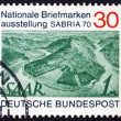 Stock Photo: Postage stamp Germany 1970 Saar River near Mettlach