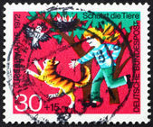 Postage stamp Germany 1972 Girl Protecting Birds from Cat — Stock Photo