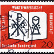 Stock Photo: Postage stamp Germany 1962 Open Bible, Chrismon and Chalice