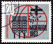 Postage stamp Germany 1963 Globe, Cross, Seeds and Stalks of Whe — Stock Photo
