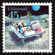 Stock Photo: Postage stamp US1989 Moon Rover, Futuristic Mail Delivery