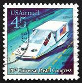 Poštovní známka usa 1989 vznášet vzduchem odpružené auto — Stock fotografie