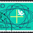 Stock Photo: Postage stamp Germany 1968 Cross and Dove in Center of Universe