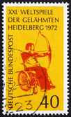 Postage stamp Germany 1972 Archer in Wheelchair — Stock Photo